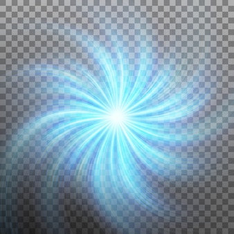 Efekt gwiazdy ze światłem odblaskowym z przezroczystością. przezroczyste tło tylko w