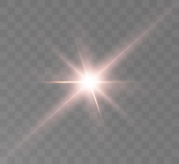 Efekt jasnego blasku światła gwiazdy kosmiczne promienie blask