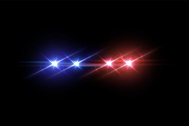 Efekt lampy błyskowej samochodu policyjnego na ciemnym tle.