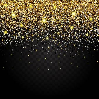Efekt latających części złoty brokat luksusowy bogaty wzór tła. efekt ciemnego tła. gwiezdny pył wywołuje eksplozję na przezroczystym tle. luksus.