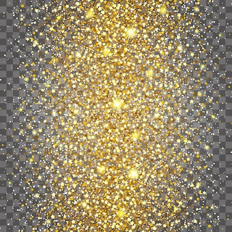 Efekt latania często w centrum złotego połysku luksusowego tła o bogatym designie. jasnoszare tło. gwiezdny pył wywołuje eksplozję na przezroczystym tle. luksusowe złote tekstury