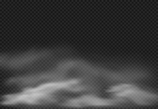 Efekt mgły. dymne chmury, chmurna mgła i realistyczna dymiąca chmura odizolowywający na przejrzystej tło ilustraci