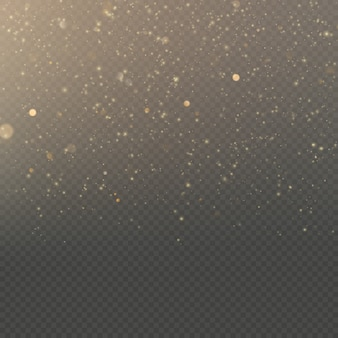 Efekt nakładki brokat złoty efekt połysku światła na przezroczystym tle.