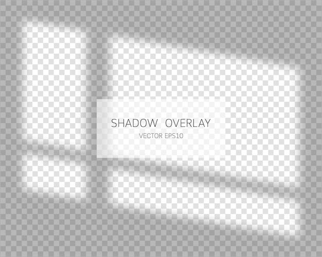 Efekt nakładki cienia. naturalne cienie z okna na białym tle.