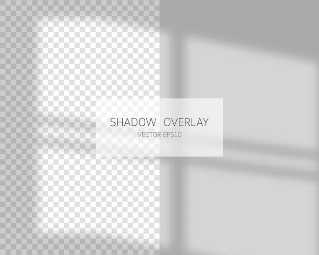 Efekt nakładki cienia. naturalne cienie z okna na białym tle