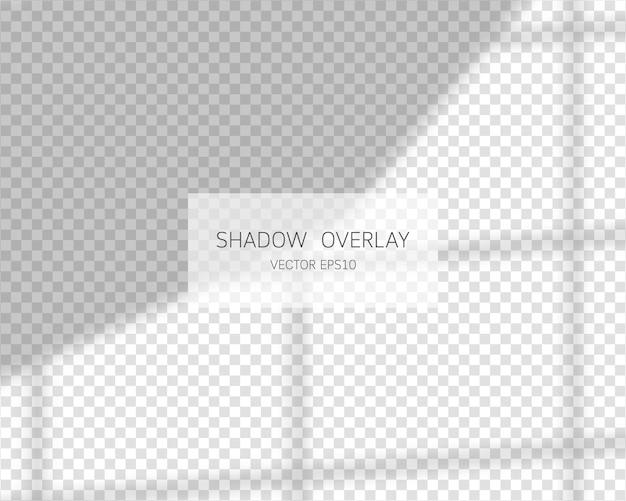 Efekt nakładki cienia. naturalne cienie z okna na przezroczystym tle.