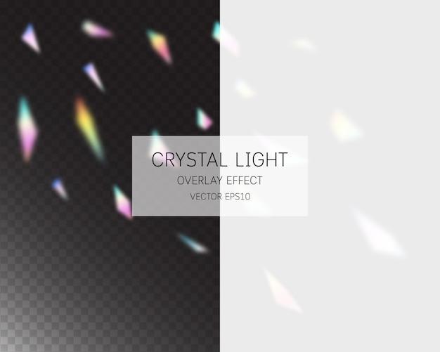 Efekt nakładki światła kryształowego. streszczenie efekt nakładki światła na białym tle.