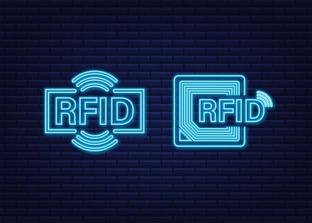 Efekt neonowy identyfikacji częstotliwości radiowej fid. koncepcja technologii. technologia cyfrowa.