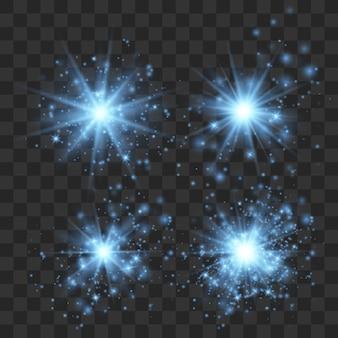 Efekt niebieskiego świecącego światła, rozbłysk, wybuch i gwiazdy. zestaw białych świecących efektów świetlnych