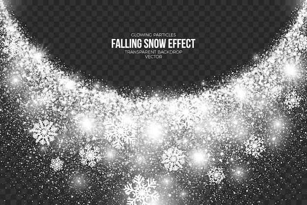 Efekt padającego śniegu przezroczyste tło