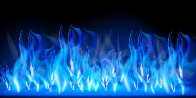 Efekt płonących czerwonych gorących iskier realistycznych ognistych niebieskich płomieni
