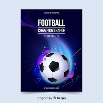 Efekt płynny plakat szablon piłki nożnej