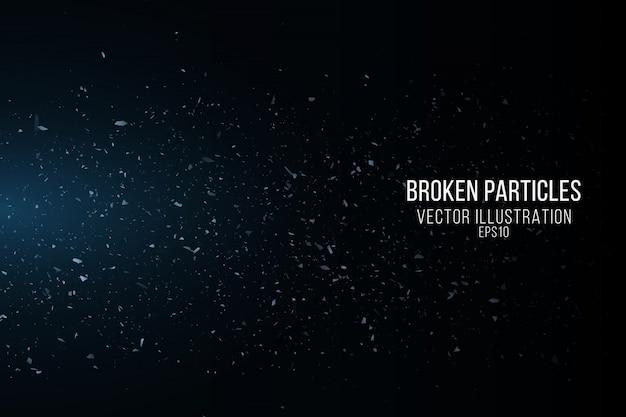 Efekt potłuczonego szkła z drobnymi cząsteczkami na czarnym tle. latające fragmenty. niebieskie światła. ilustracji wektorowych