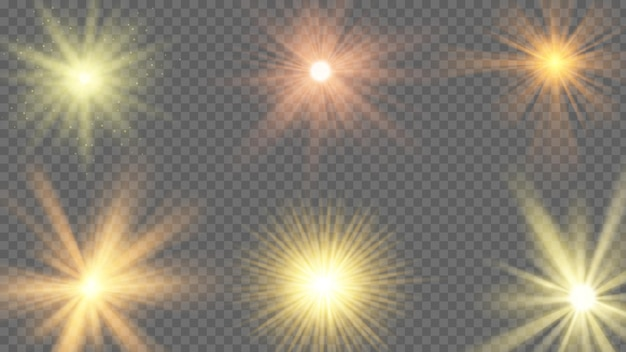 Efekt promieni słonecznych. starburst żółty połysk, promieniowanie słoneczne na przezroczystym tle. belki słoneczne, lato sunbeam wektor zestaw. ilustracyjne światło gwiazdy słonecznej, rozbłysk efektu, rozbłysk i jasna gwiazda