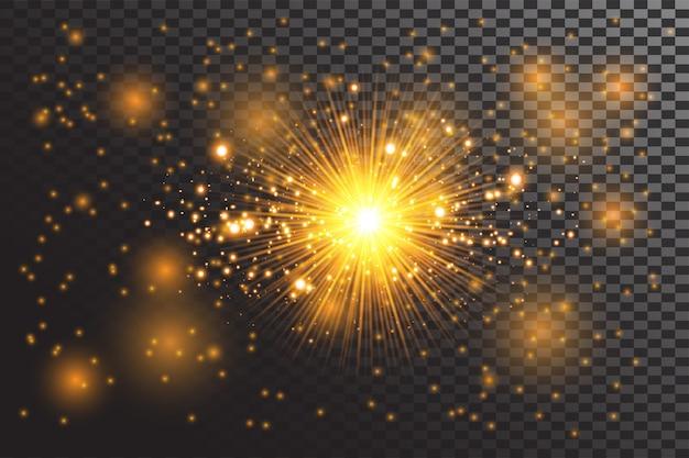 Efekt przezroczystego światła jarzeniowego. gwiazda pęka w blasku. złoty połysk.