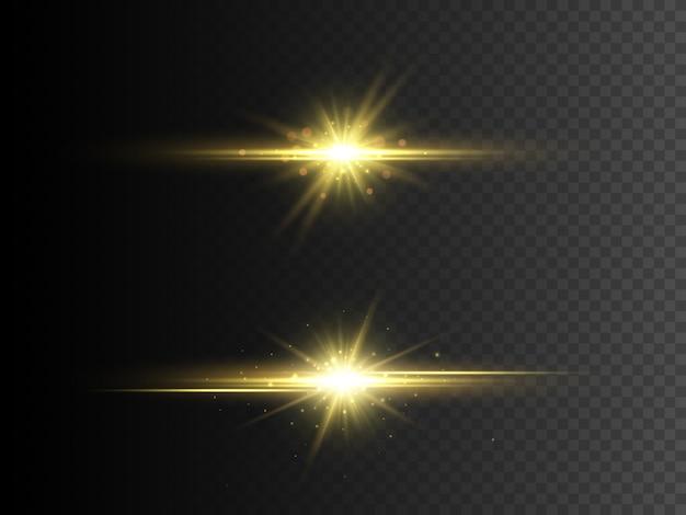 Efekt przezroczystego światła świecącego. złota brokatowa gwiazda z błyskami.