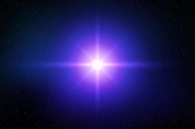 Efekt rozbłysku błysku błyszczącego słońca lub gwiazdy