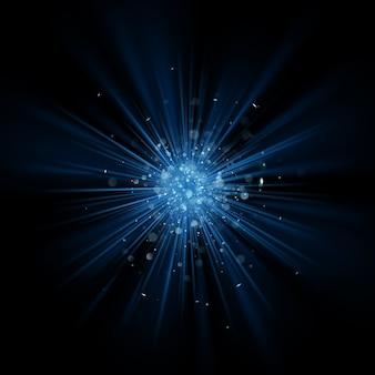 Efekt rozbłysku niebieskiego światła.