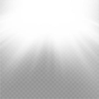 Efekt rozbłysku słonecznego promienie efekt białej wiązki rozmycie w świetle blasku przednia lampa błyskowa soczewki słonecznej