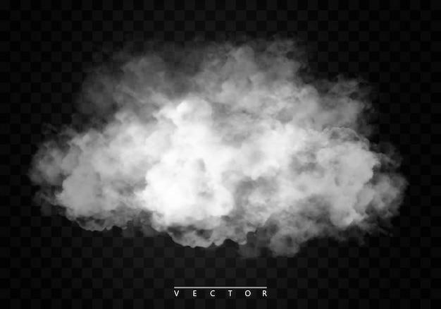 Efekt specjalny na białym tle mgły lub dymu