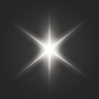 Efekt specjalny rozbłysku światła z promieniami światła i magicznymi iskierkami. przezroczyste świecące słońce, jasny błysk. środek jasnego błysku.