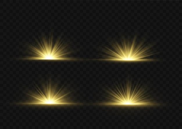 Efekt specjalny rozbłysku światła z promieniami światła i magicznymi iskierkami. zestaw efektów świetlnych z przezroczystym blaskiem