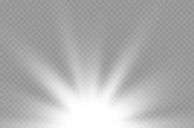 Efekt specjalny rozbłysku wybuchu słońca z promieniami światła i magicznymi iskierkami jasną, lśniącą białą gwiazdą
