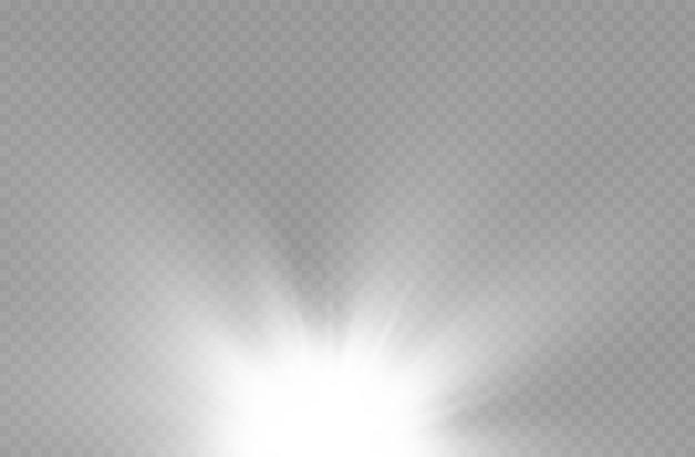 Efekt specjalny rozbłysku wybuchu słońca z promieniami światła i magicznymi iskierkami jasna lśniąca biała gwiazda
