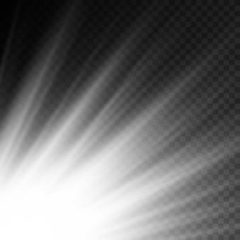 Efekt specjalny rozbłysku wybuchu słońca z promieniami światła i magicznymi iskierkami jasna świecąca biała gwiazda