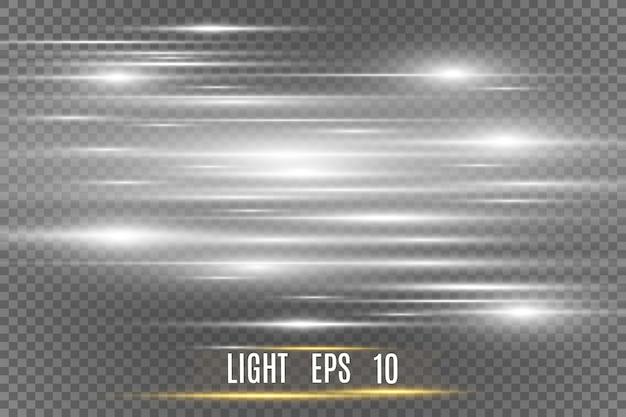 Efekt specjalny światła wektor. świetliste paski.