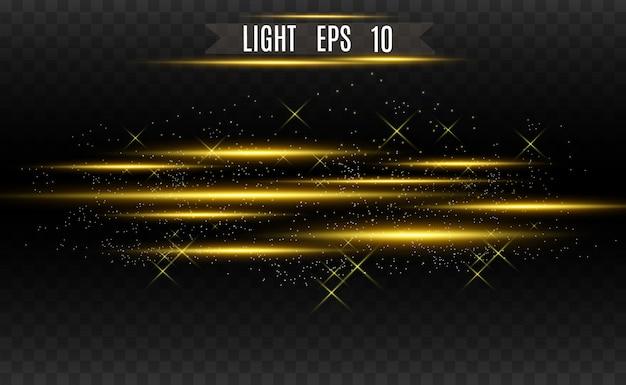 Efekt specjalny światło złoto wektor. świecące jasne paski.