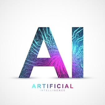 Efekt splotu logo sztucznej inteligencji. koncepcja sztucznej inteligencji i uczenia maszynowego. wektor symbol ai. sieci neuronowe i inne koncepcje nowoczesnych technologii. koncepcja technologii science-fiction.