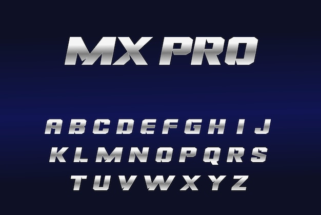 Efekt srebrnej czcionki mxpro