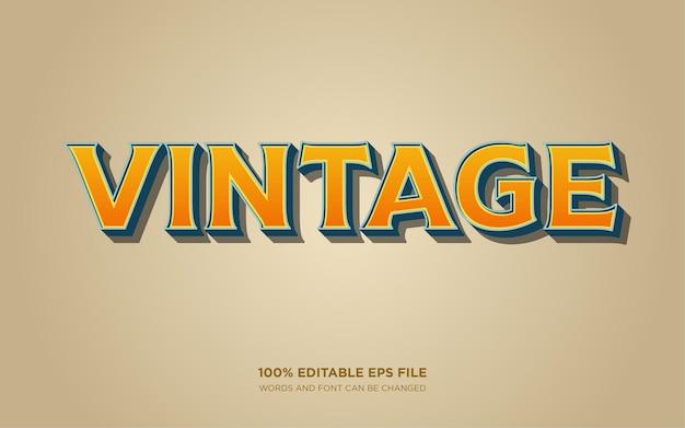 Efekt stylu edytowalnego tekstu retro vintage 3d