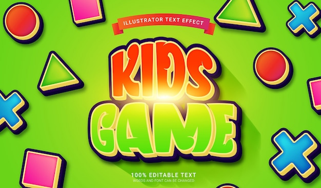 Efekt stylu gry tekstowej dla dzieci. edytowalny efekt tekstowy