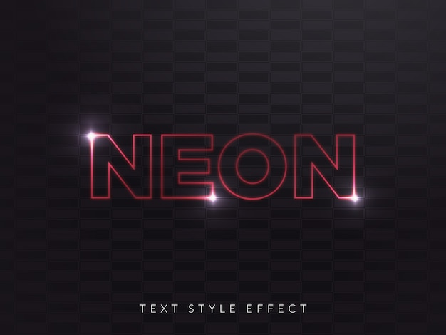 Efekt stylu red neon text z liniową koncepcją