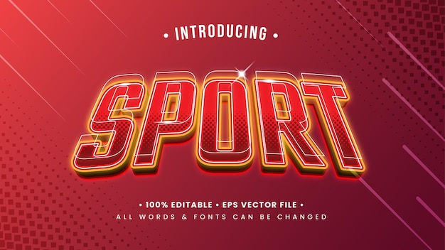 Efekt stylu tekstu 3d sport. edytowalny styl tekstu programu illustrator.