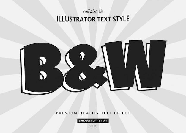 Efekt stylu tekstu czarno-białego