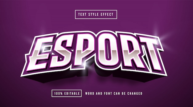 Efekt stylu tekstu esport purple