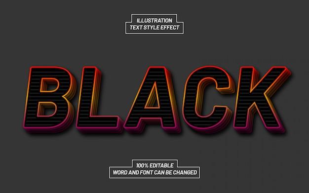 Efekt stylu tekstu stosu czarnego gradientu