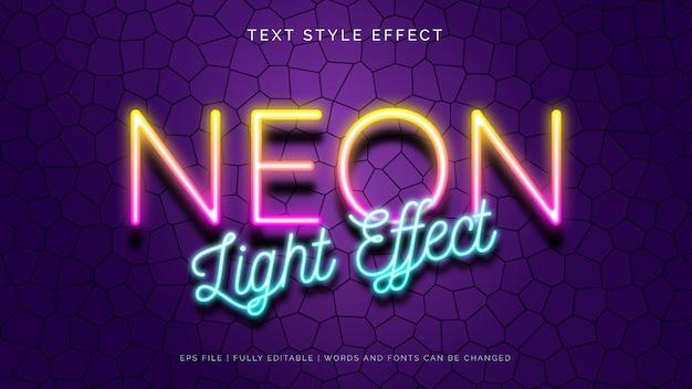 Efekt stylu tekstu światła neonowego