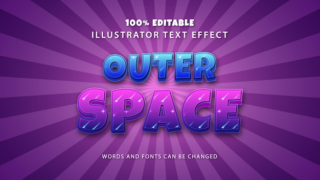 Efekt stylu tekstu w przestrzeni kosmicznej, tekst edytowalny