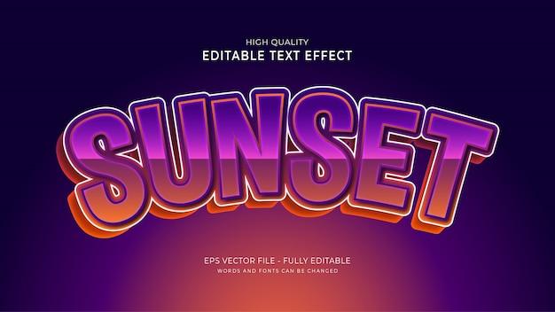 Efekt stylu tekstu zachodu słońca. edytowalny efekt czcionki.