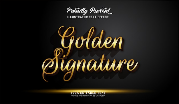 Efekt stylu złotego podpisu. edytowalny efekt tekstowy