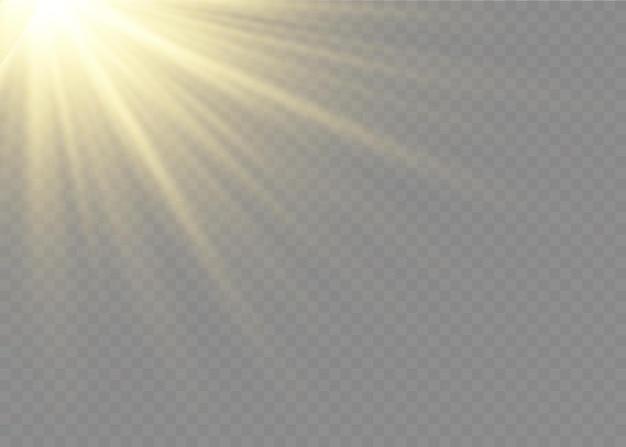 Efekt światła błyskowego z przezroczystym światłem słonecznym. lampa błyskowa przedniej soczewki słonecznej. rozmazać się w świetle blasku. element wystroju. poziome promienie gwiazdowe i reflektor.