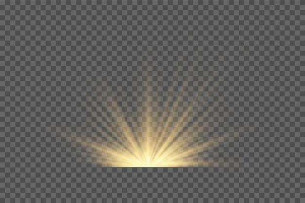 Efekt światła błyskowego z przezroczystym światłem słonecznym. lampa błyskowa przedniej soczewki słonecznej.