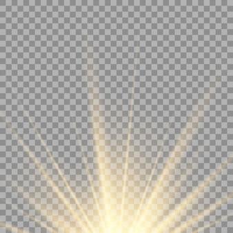 Efekt światła błyskowego z przezroczystym światłem słonecznym. przednia lampa błyskowa soczewki słonecznej.