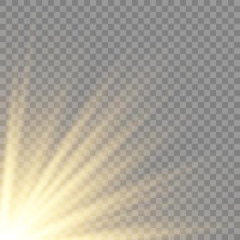 Efekt światła błyskowego z przezroczystym światłem słonecznym. rozmycie wektorowe w świetle blasku. element wystroju. poziome promienie gwiazdowe i reflektor.