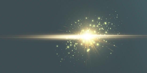 Efekt światła lampy błyskowej obiektywu promienie słoneczne z promieniami odizolowane