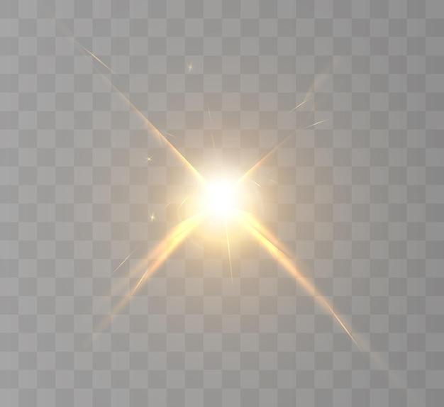 Efekt światła lampy błyskowej obiektywu promienie słoneczne z promieniami